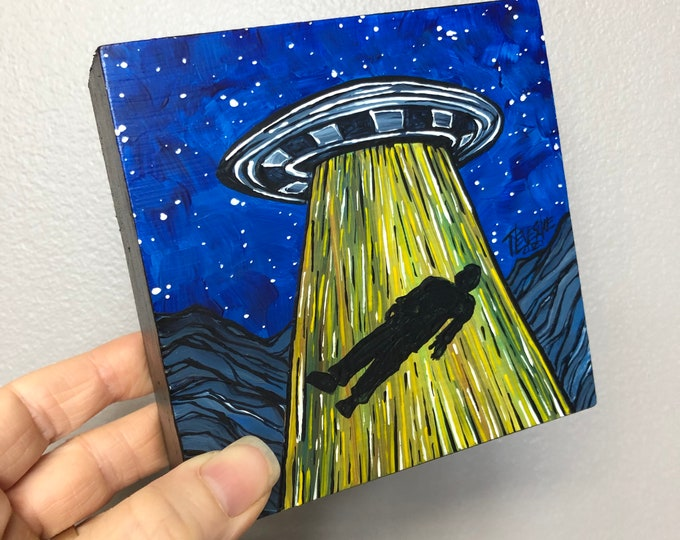 """4x4"""" Space Sleeper UFO Alien Abduction Flying Saucer original acrylic painting by Tracy Levesque"""