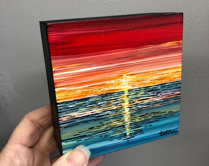 "4x4"" One of a king Red Sunset painting by Tracy Levesque"