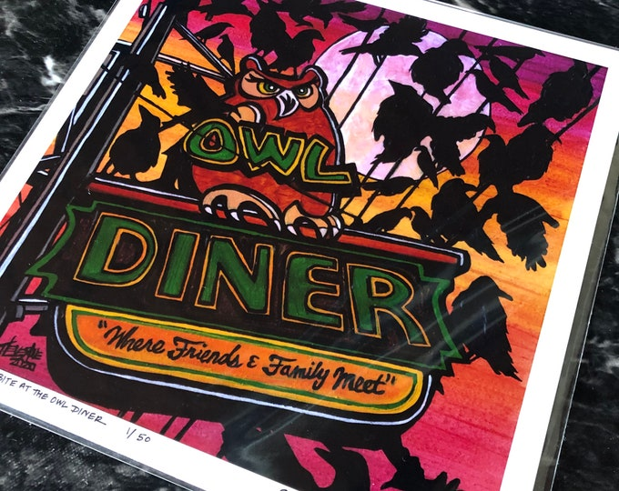 """The Birds Have a Bite at the Owl Diner 12x12"""" metallic photographic print featuring artwork by Tracy Levesque"""