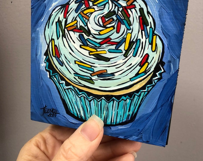 "4x4"" Rainbow Sprinkle Cupcake original acrylic painting by Tracy Levesque"