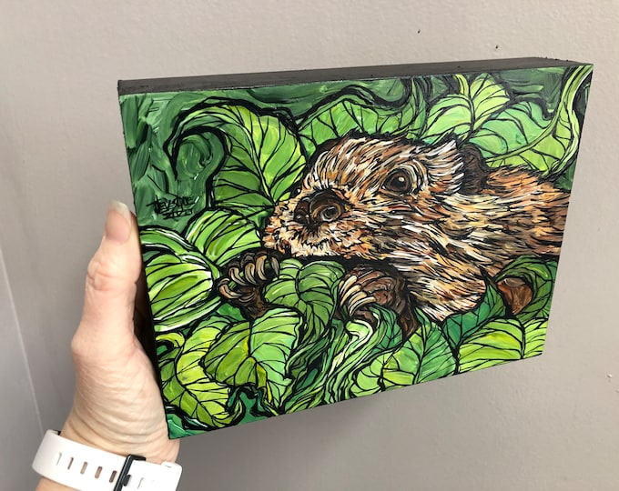 "6x8"" Beaver's Buffet original acrylic painting by Tracy Levesque"