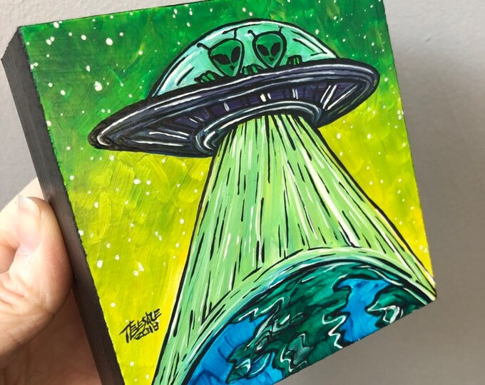 """4x4"""" Little Green Men Invade Earth Original acrylic painting by Tracy Levesque"""