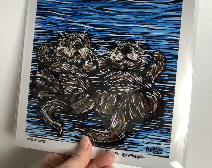 """Otter Love 8x8"""" metallic photographic print by Tracy Levesque"""