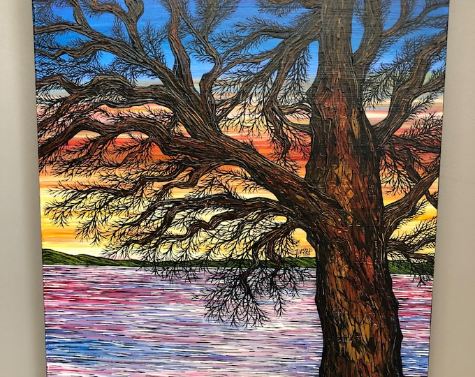 "A Thousand Color Sunset Tree 20x24"" original acrylic on canvas painting by Tracy Levesque"