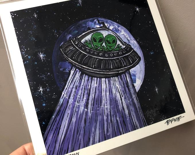 "Little Green Men Alien Moon 8x8"" metallic photographic print by Tracy Levesque"