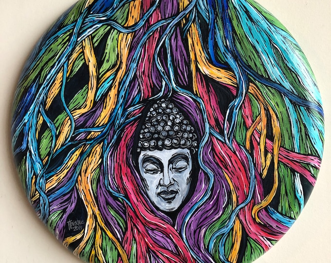 "Entanglement of Mind Buddha Tree Roots 16"" Original Acrylic Painting by Tracy Lévesque"