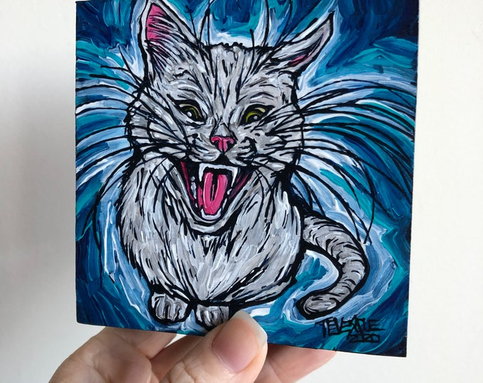 """4x4"""" Feed Me White Cat original acrylic painting by Tracy Levesque"""