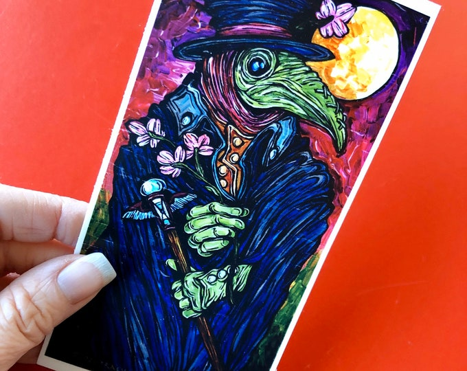 "3x6"" Plague Doctor Vinyl Sticker by Tracy Levesque"
