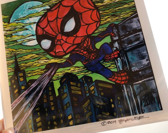 "8x8"" Spider Man metallic photographic print with artwork by Tracy Levesque"