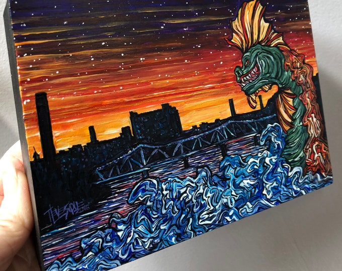 """IT Came From the Merrimack Lowell Monster 5x7"""" original acrylic painting by Tracy Levesque"""
