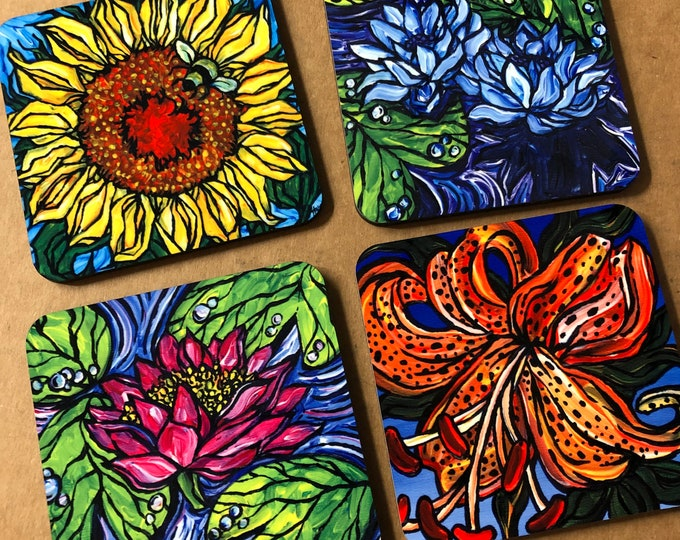 Beautiful Flowers Coaster Set of 4 featuring artwork by Tracy Levesque