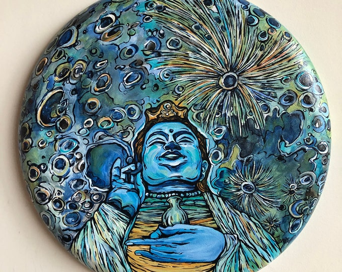 "Compassionate Moon Kuan Yin 16"" Round Original Acrylic Painting by Tracy Lévesque"