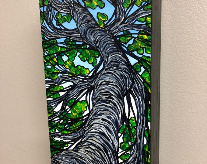 "Thin Twisting Tree 4x8"" Original Acrylic Painting by Tracy Levesque"