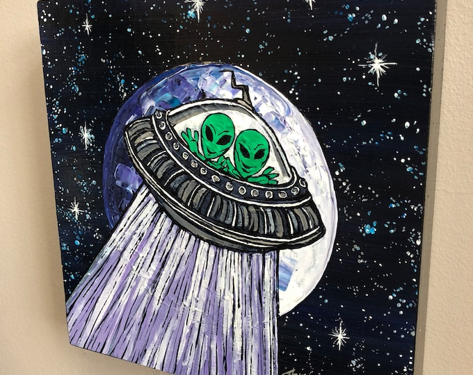 Little Green Men, original acrylic painting by Tracy Levesque