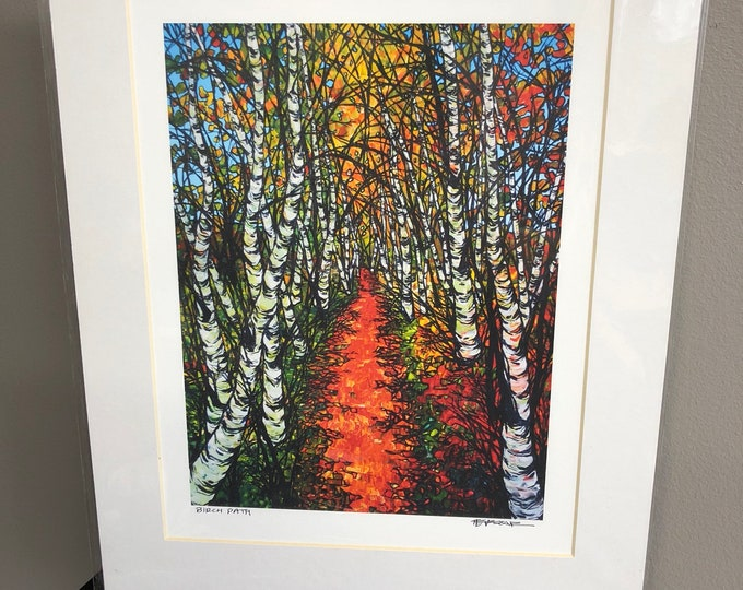 11x14 Matted Giclee Print of Autumn Birch Path by Tracy Levesque