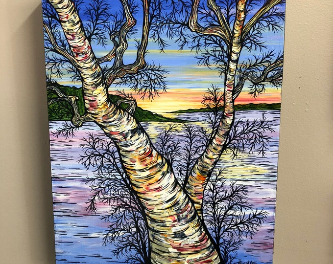 "Split Birch Sunrise, 14x18"" Original Acrylic Painting by Tracy Levesque"