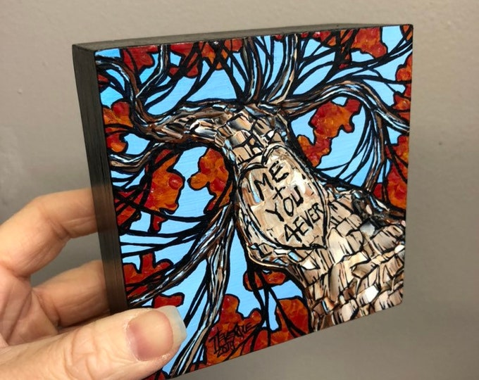 "4x4"" One of a kind original Love Tree painting by Tracy Levesque"