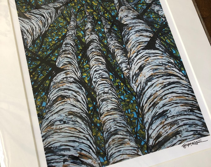 """11x14"""" Matted giclee print by Tracy Levesque - Birch Pillars (print size is approximately 8x10"""" inside 11x14"""" mat)"""