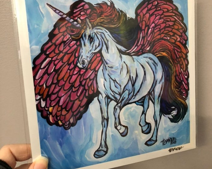 "8x8"" Print of Unicorn Pegasus by Tracy Levesque"
