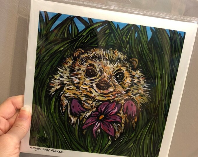 "8x8"" Hedgehog Print by Tracy Levesque Metallic photographic print of artwork"