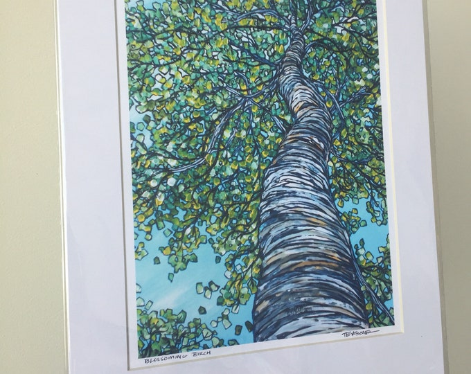 "11x14"" Matted Giclee Print of Blossoming Birch Tree by Tracy Levesque (print size is approximately 8x10"" inside 11x14"" mat)"