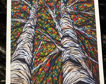 """Two Fall Birch Trees 11x14"""" fine art giclee print by Tracy Levesque"""