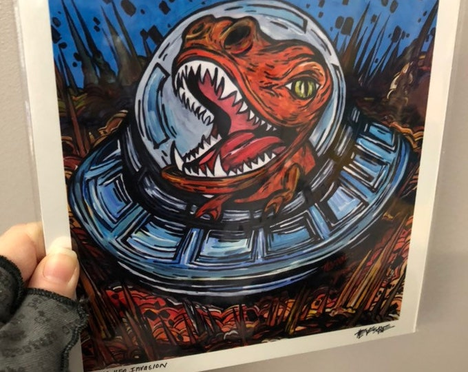 "8x8"" Print of Dinosaur UFO Invasion by Tracy Levesque"