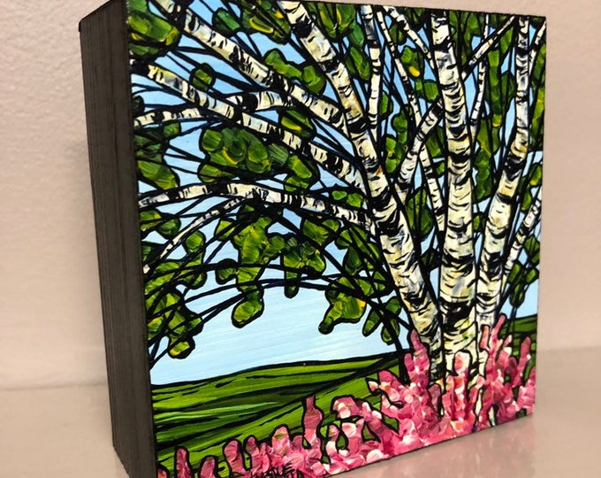"""4x4"""" Original acrylic painting Sprimg Birch Grove by Tracy Levesque"""