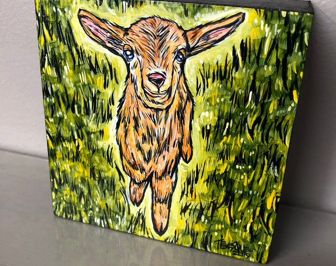 "4x4"" Happy Goat original acrylic painting by Tracy Levesque"
