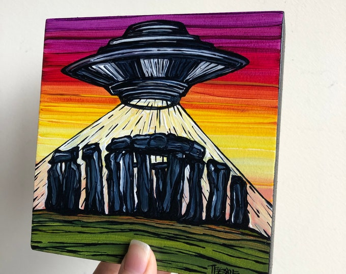 """5x5"""" Summer Solstice Stonehenge UFO Alien Flying Saucer original acrylic painting by Tracy Levesque"""