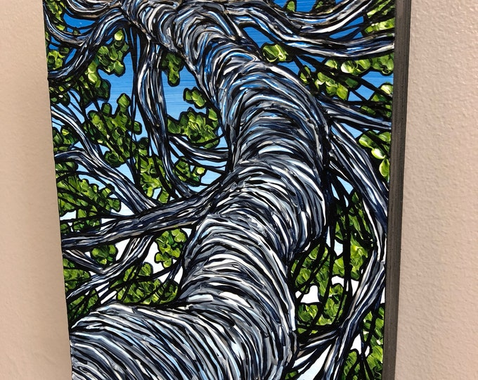 Green Tree View, original acrylic painting by Tracy Levesque