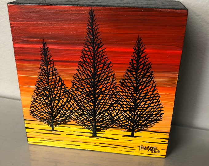 "4x4"" Original acrylic painting Red Tree Sunset by Tracy Levesque"