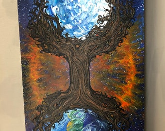 """The Cosmic Tree of Life 15x30"""" original acrylic painting on wood by Tracy Levesque"""