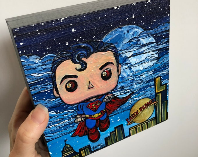 "6x6"" Whimsical Superman Original Painting By Tracy Levesque"