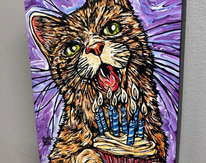 "Happy Birthday to Mew 5x7"" Original acrylic painting by Tracy Levesque"