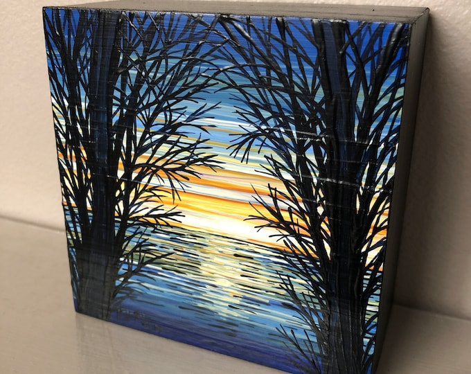 "4x4"" Tropical Sunrise original acrylic painting by Tracy Levesque"