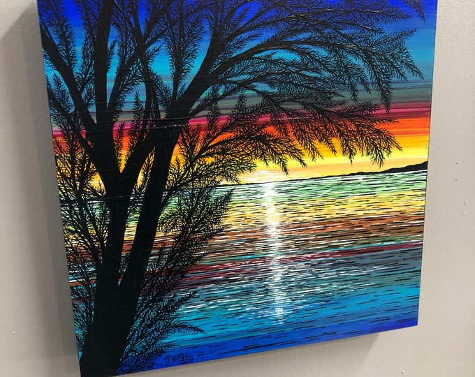 "12x12"" Meditative Sunset original acrylic painting by Tracy Levesque"