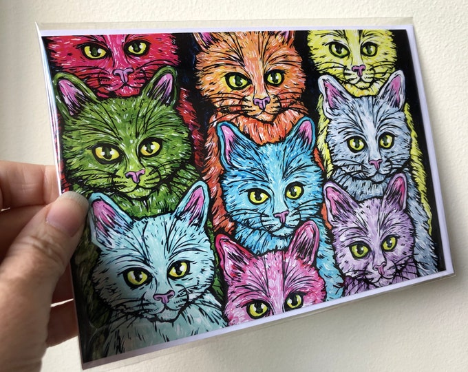 "Cats of a Different Color, cat lover, good luck 5x7"" greeting card featuring artwork by Tracy Levesque"
