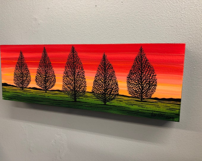 Rose Dawn Forest, original acrylic painting by Tracy Levesque