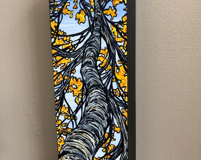 Long Gold Paper Birch, original acrylic painting on wood by Tracy Levesque