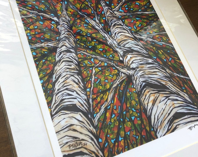 """11x14"""" Matted Fall Birch Print by Tracy Levesque (print size is approximately 8x10"""" inside 11x14"""" mat)"""