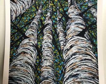 "Pillars of Birch 11x14"" Fine Art Giclee print on watercolor paper by Tracy Levesque"