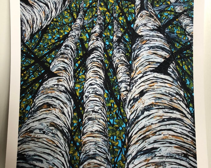 """Pillars of Birch 11x14"""" Fine Art Giclee print on watercolor paper by Tracy Levesque"""