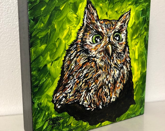 "Sweet Little Owl 6x6"" original acrylic painting by Tracy Levesque"