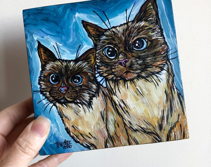 """5x5"""" We are Siamese if You Please twin Siamese cat original acrylic painting by Tracy Levesque"""