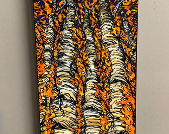 "Five Aspens 12x24"" original acrylic painting by Tracy Levesque"