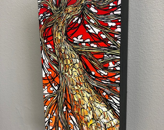 Oblong Sunset Tree, original acrylic painting by Tracy Levesque