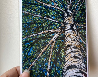 "5x7"" Spring Birch Tree greeting card featuring artwork by Tracy Levesque"