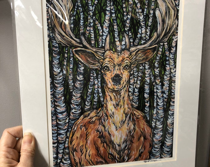 "11x14"" Matted giclee prints of Guardian of the Birches by Tracy Levesque"