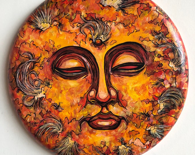 "Beyond Samsara Sun 16"" Round Acrylic Painting by Tracy Lévesque"